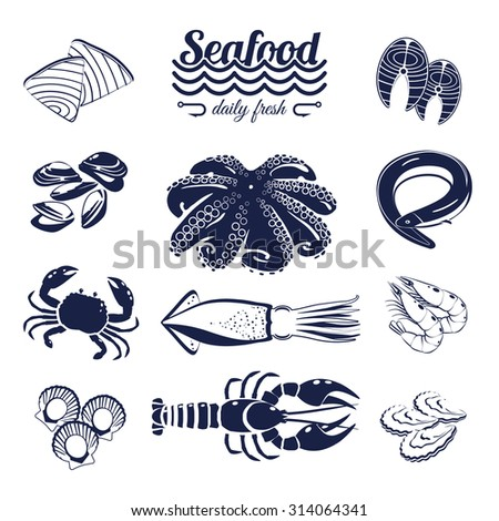 Set of monotone cartoon sea food elements - tuna, salmon, clams, crab, lobster and so forth. Vector illustration, isolated on transparent background, eps 10. - stock vector