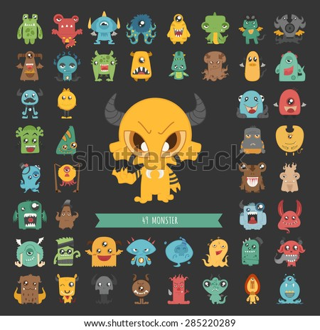 Set of monster characters poses , eps10 vector format - stock vector