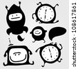 Set of monsters silhouettes with tv, rocket, clock and small bubble, vector illustration - stock vector