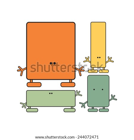 set of monsters. vector illustration - stock vector