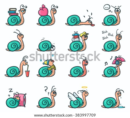 Set of 16 mood emotions stickers of cute snails in different positions - vector illustration - stock vector