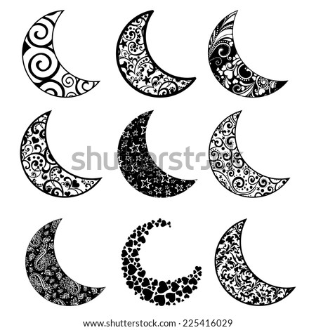 Set of moon  icons isolated on white background. Vector illustration  - stock vector