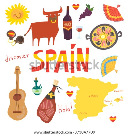 Set of  more than 12Spanish symbols: bull, guitar, map, paella, wine, guitar, olive oil, castanets(music instrument), jamon(Spanish meat) and others. Hola means hello in Spanish. For touristic agency. - stock vector