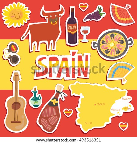 White wooden table background - Set Of More Than 12 Spanish Symbols Bull Guitar Map Paella Wine