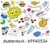Set of morning doodles Vector. Visit my portfolio for big collection of doodles - stock vector