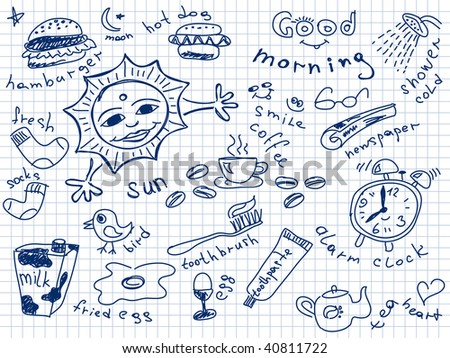 Set of morning doodles. Vector. Visit my portfolio for big collection of doodles - stock vector