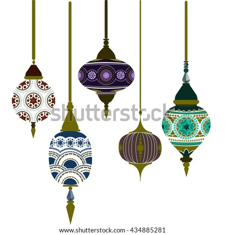 Set of Morocco lamps vector. illustration