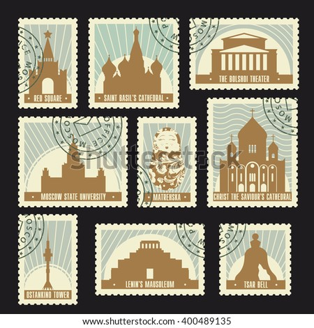 Set of Moscow historic sights post stamps. Red square, Saint Basil's Cathedral, Bolshoi Theatre, Ostankino Tower. Soviet retro design for your touristic poster, t-shirt, card or web. Enjoy! - stock vector