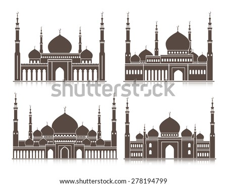 Set of Mosque or Masjid Elements Isolated for Islamic Celebrations, Ramadan Kareem and Eid Mubarak Background. Editable Vector Illustration. - stock vector