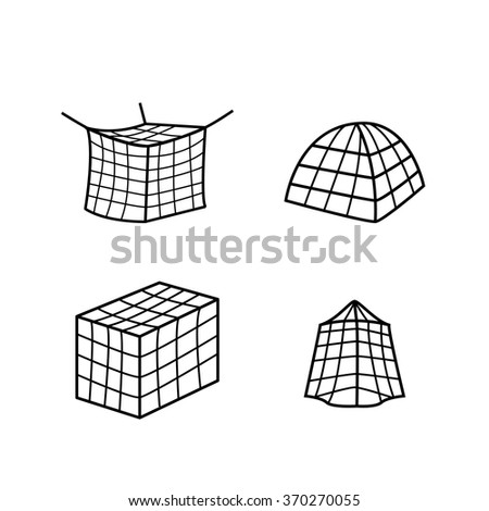 net clipart black and white. set of mosquito bed net icon and symbol clipart black white