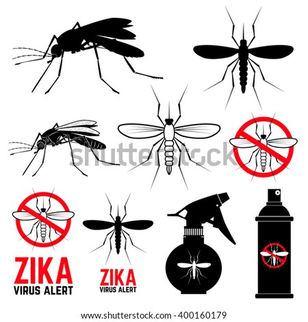 Set of mosquito icons. Zika virus alert. Anti mosquito. Mosquito emblems. Set of design elements in vector. - stock vector