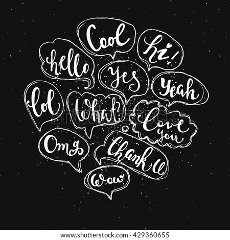 Set of most common used acronyms and abbreviations on hand drawn speech bubbles. - stock vector