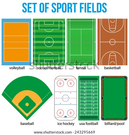 Set of most popular sample sport fields in a simple outline. Flat design. Vector illustration. - stock vector