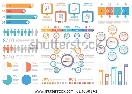 Set of most useful infographic elements - bar graphs, human infographics, pie charts, steps and options, workflow, puzzle, percents, circle diagram, timeline, vector eps10 illustration