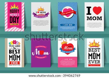 Set of Mother's day brochures in vintage style .Vector eps10