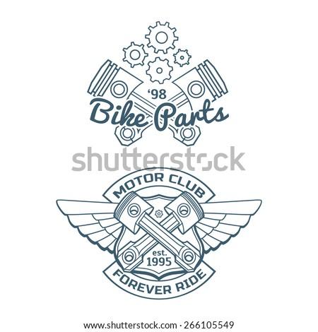 Set of motor vintage labels, set of emblems - stock vector