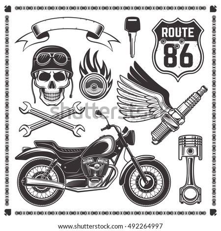 Set Motorcycle Bikers Attributes Vector Design Stock Vector ...