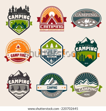 Set of mountain adventure and expedition logo badges. Camping - stock vector