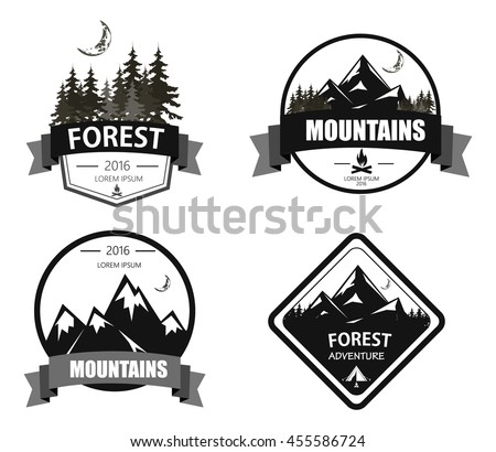 set mountain forest adventure expedition logo stock vector royalty