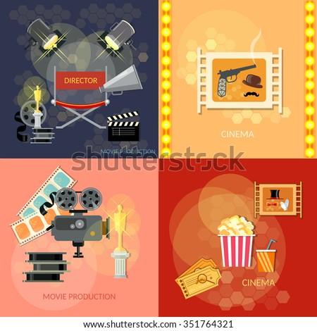 Set of movie design elements cinema festival movie tickets clapper popcorn awards ceremony  - stock vector