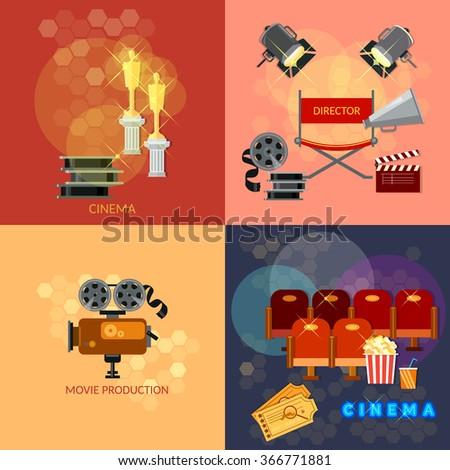 Set of movie design elements cinema festival movie tickets clapper popcorn awards ceremony vector - stock vector