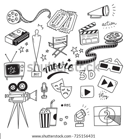 Set of movie doodle isolated on white background