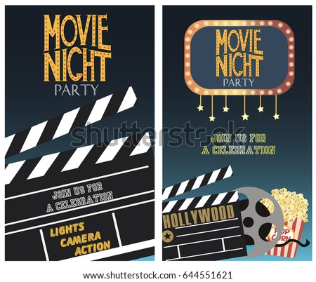 Set movie party invitation greeting cards stock vector 644551621 set of movie party invitation or greeting cards vector illustration stopboris Image collections