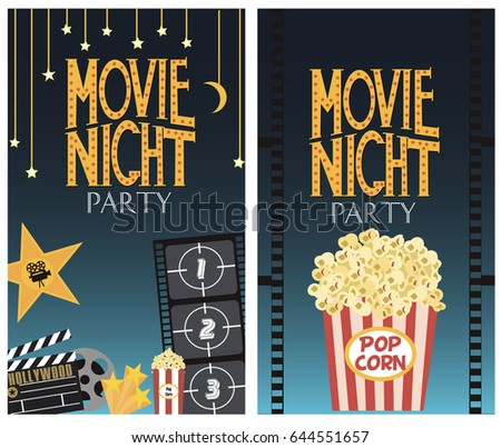 Set movie party invitation greeting cards stock vector 2018 set of movie party invitation or greeting cards vector illustration stopboris Image collections
