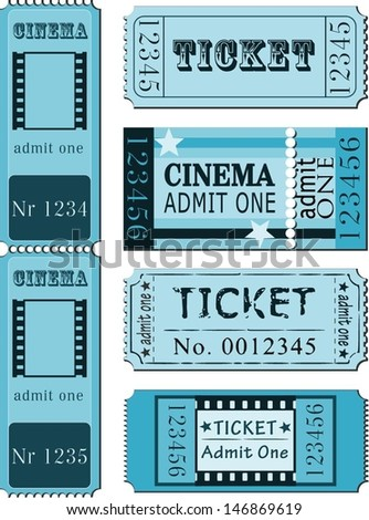 Set of movie ticket templates - stock vector