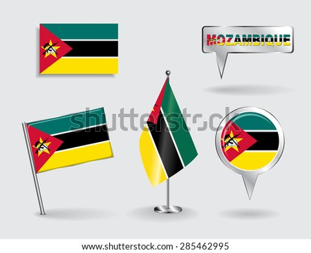 Set of Mozambique pin, icon and map pointer flags. Vector illustration. - stock vector