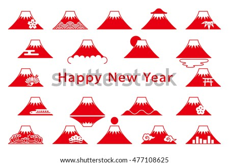 Set of Mt. Fuji icons. New Year's card.