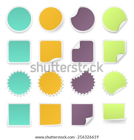 Set of multi-colours stickers with rounded corners in different shapes. Vector illustration.  - stock vector