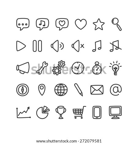 Set of multi-purpose interface icons for web or apps: communication, media, shopping and more. Clean and minimalistic, but with a personal hand drawn feel. - stock vector