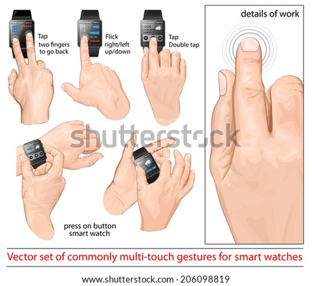 Set of multi-touch gestures for smart-watch. Tap, flick,  two fingers to go back, press buttons. Customizing the display. - stock vector