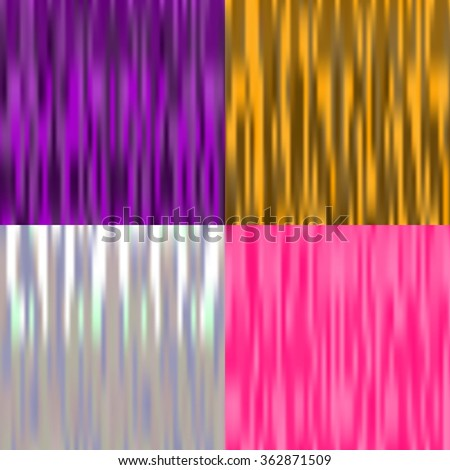 Set of 4 multicolor abstract backgrounds with texture of silk. Vector illustration. Satin texture. Purple, pink, gold, silver. - stock vector