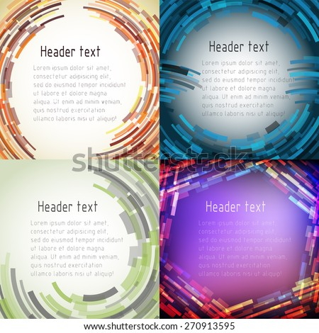 Set of multicolored abstract framework for text. Four vector background for various design decisions. Suitable for cards, posters, invitations or image ads. - stock vector