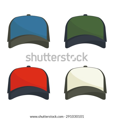 Set of multicolored baseball caps. Simple flat vector. Design element. - stock vector