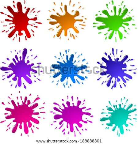 Set of Multicolored blots and splashes of a paint and ink; Set B; Eps10; Each Paint Splash is the only and unique. - stock vector