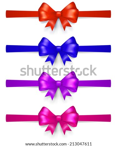 Set of multicolored bows made of ribbon, located horizontally, with shadows