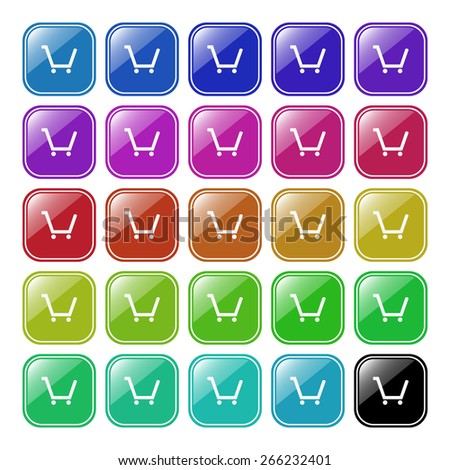 Set of multicolored buttons for mobile applications.  put in shopping cart , vector illustration, EPS 10