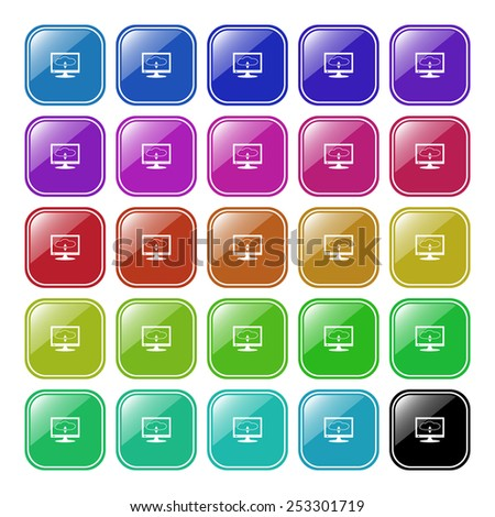 Set of multicolored buttons for the site. Buttons for mobile applications. cloud storage on the computer, vector illustration, EPS 10 - stock vector