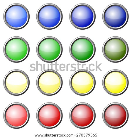Set of multicolored buttons to create an interface.