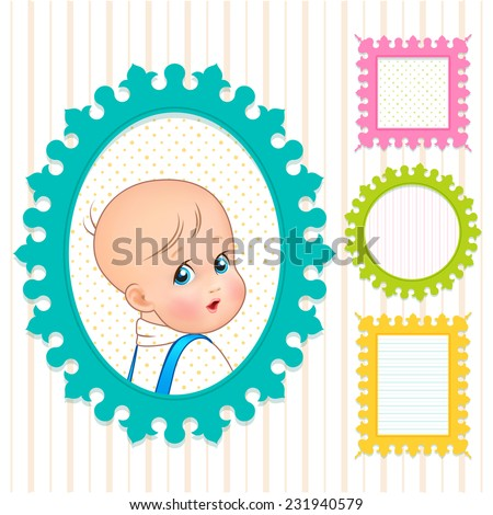 Set of multicolored colorful of frames with carved edge for a child's room with a portrait of the little child and the background with polka dots and stripes - stock vector