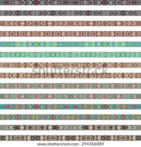 Set of multicolored decorative ribbons with a pattern