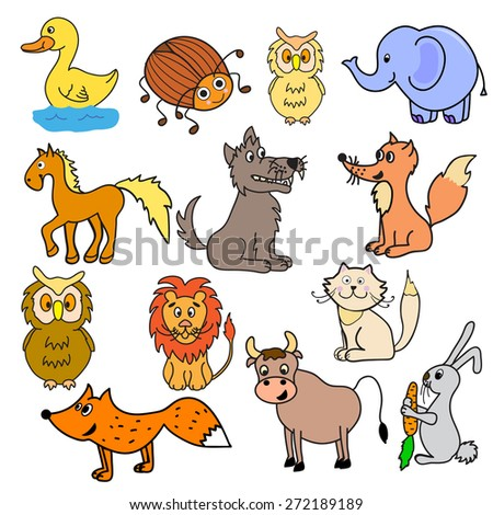 set of multicolored different animals - stock vector