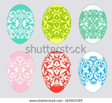 Set of multicolored Easter eggs on a gray background - stock vector