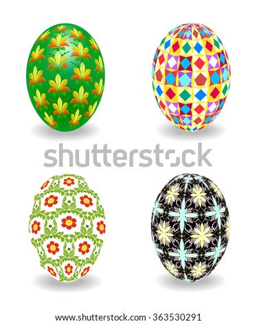 Set of multicolored Easter eggs on a white background - stock vector
