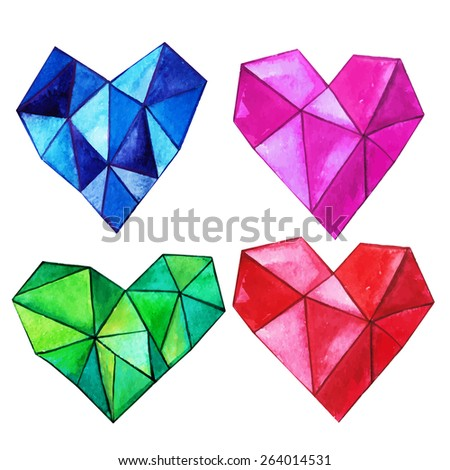 Set of multicolored faceted watercolor hearts - stock vector