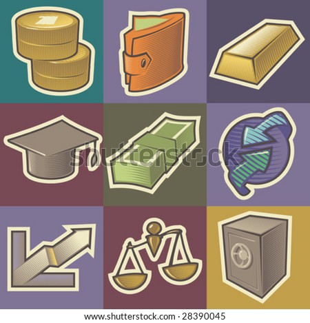 Set of multicolored finance retro icons. Hatched in style of engraving. Vector illustration. - stock vector
