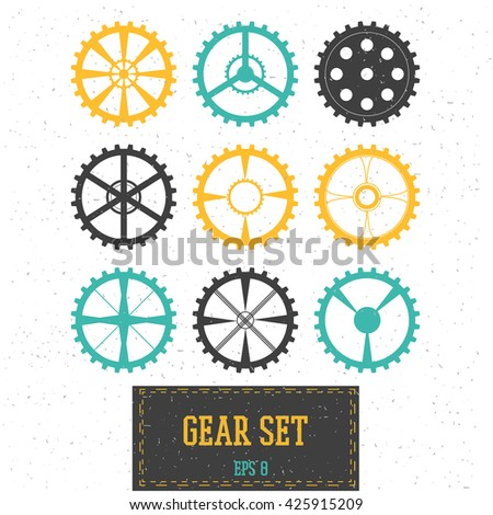 Set of multicolored gears. Vector illustration. Collection of cogwheels - stock vector